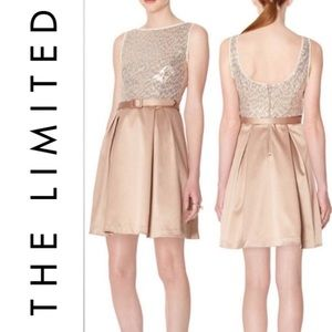 New The Limited Sequin Satin Belted Party Dress